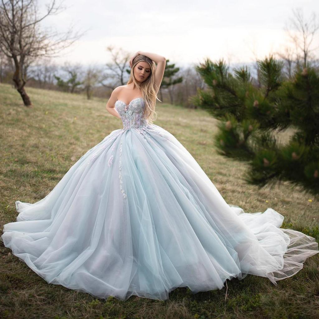 Nuevo increíble vestido de bola sexy vestidos de fiesta cariñosa cuello encaje apliqueado con cuentas vestido formal más tamaños vestidos de noche de tul Vestidos personalizados
