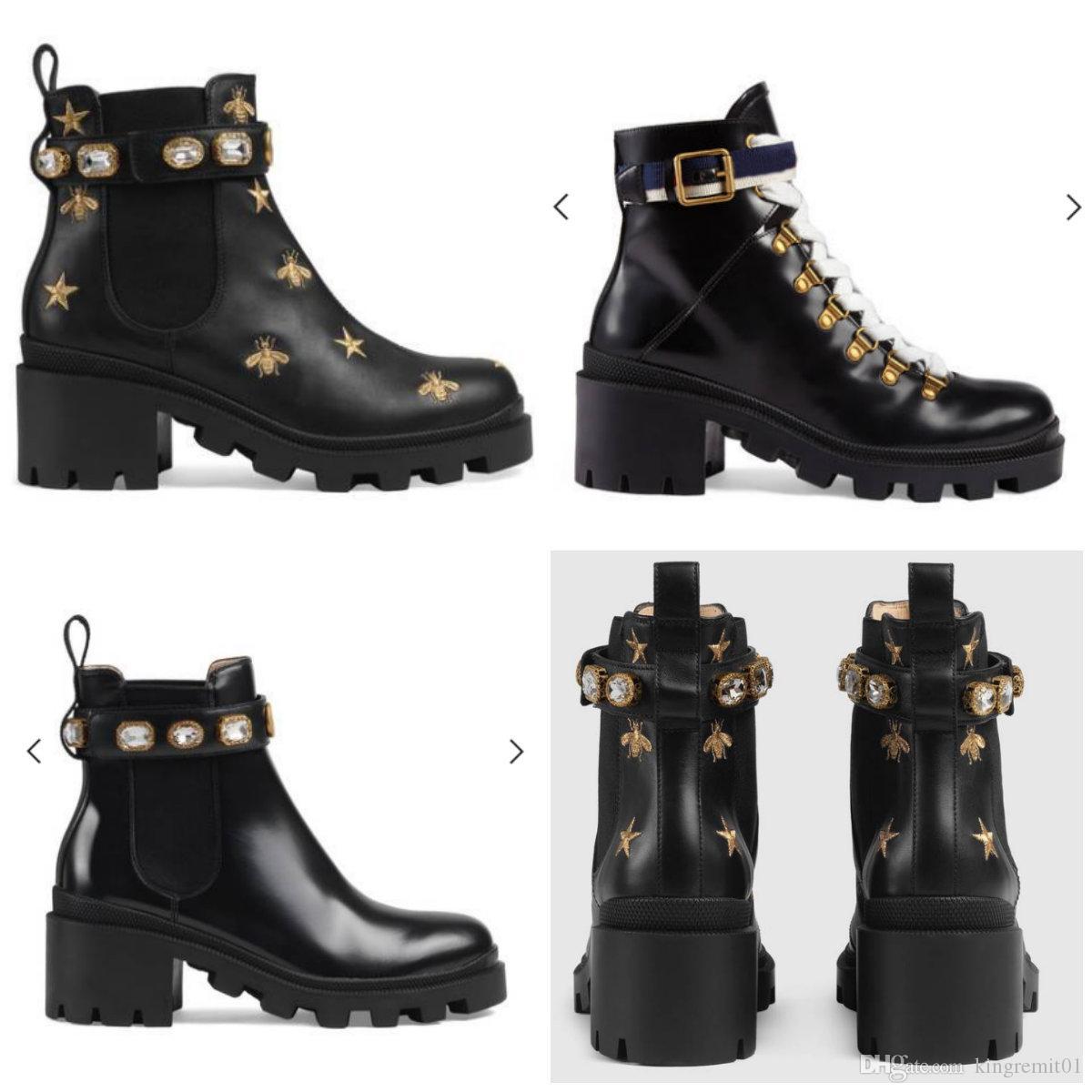 Usine de chaussures en cuir de femme directe talon rugueux femme tête ronde à lacets boucle de ceinture boucle de cheville bottes automne hiver Martin BootsSIZE35-42