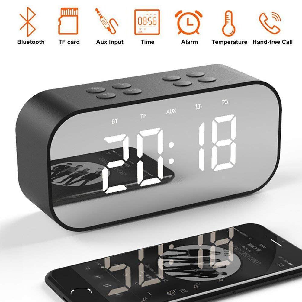 LED Mirror Clock Kids Alarm Clock LED Night Desk Digital With Wireless Bluetooth Speaker Support AUX TF USB Music Player