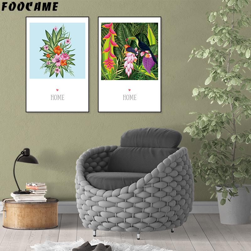 FOOCAME Flower Plant Bird Nordic Posters and Prints Art Canvas Painting Wall Pictures Living Room Decoration Modern Abstract