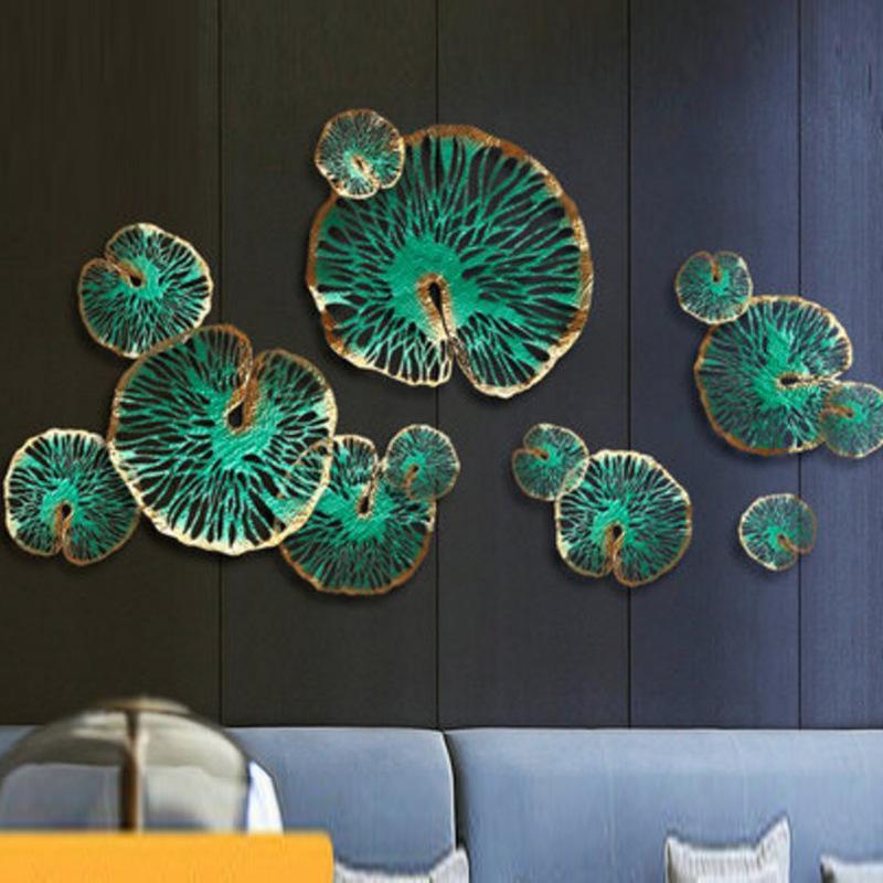 Etude de l'hôtel forgé décoration feuille de lotus de lotus tenture de fer chambre salon chevet art maison