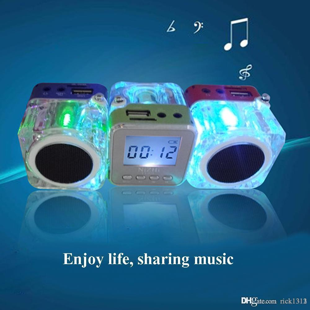 Nizhi TT028 Portalble 스피커 TT028 서브 우퍼 LED 크리스탈 LCD 디스플레이 미니 음악 MP3 플레이어 시끄러운 Spearkers FM SD TF 카드 크리스마스 선물