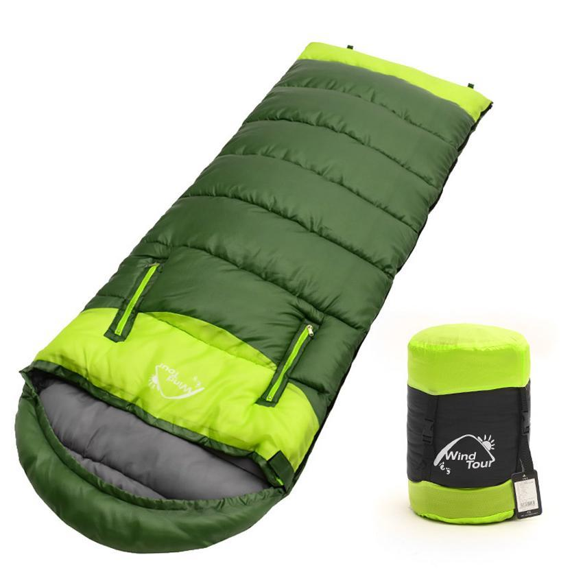 Wholesale- 2017 Adults' 3 Season Hollow Cotton Splicing Sleeping Bags Outdoor Sports Thick Hiking Camping Climbing Warm Sleeping Bag VK023
