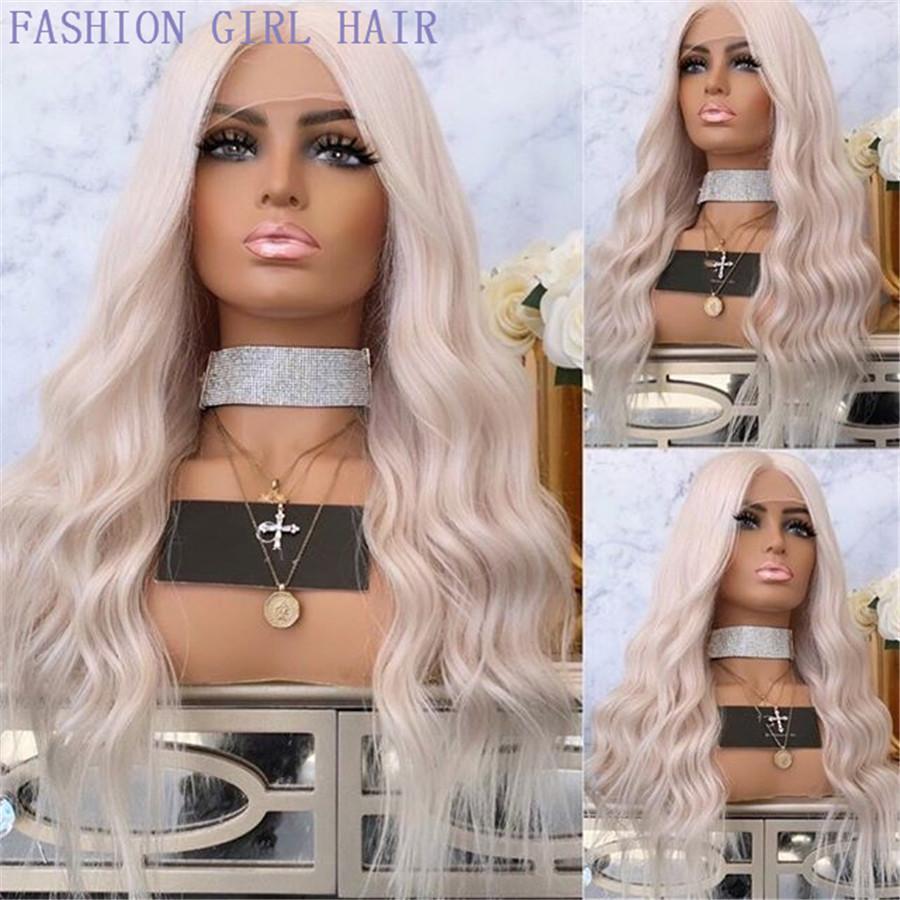 Mode Platin Blondine Mittelteil 13x4 Spitze Front Simulation Menschliches Haar Perücken Wasserwelle Glueless Full Spitze Perücken gebleichte Knoten für Frauen
