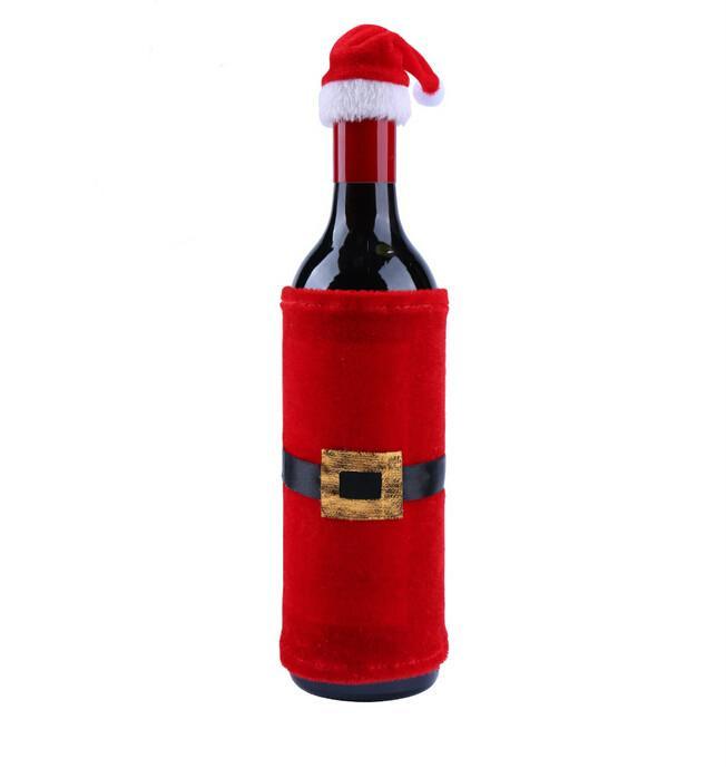 2ST Weihnachtsmann Weinflasche Covers Weihnachten Red Hat Tischdeko Xmas Party-Flaschen-Beutel Taschen