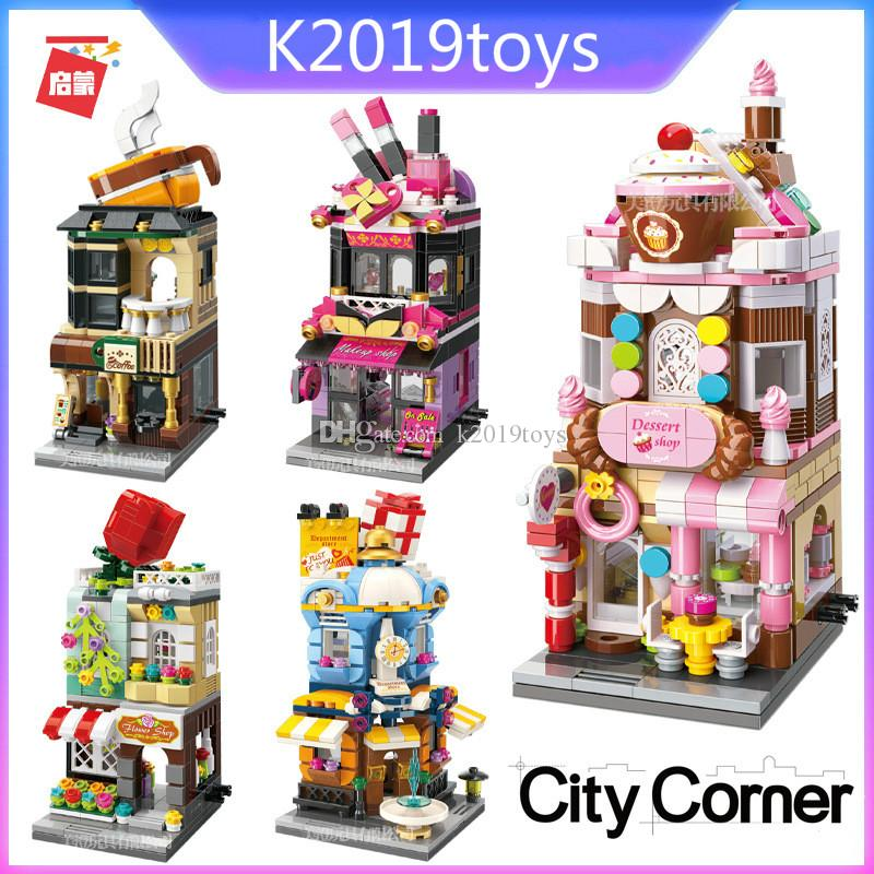 Mini City Block Street View Series Dessert Coffee Makeup Flower Shop Department Store Kids DIY Educational Toys Holiday gifts