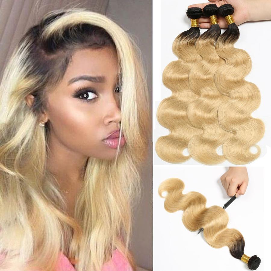 Ombre humaine Bundles cheveux péruvien vague de corps Bundles 613 Avec Roots foncé deux Bundles Tone 3 Bundle Deals Remy Hair Extension Beyo