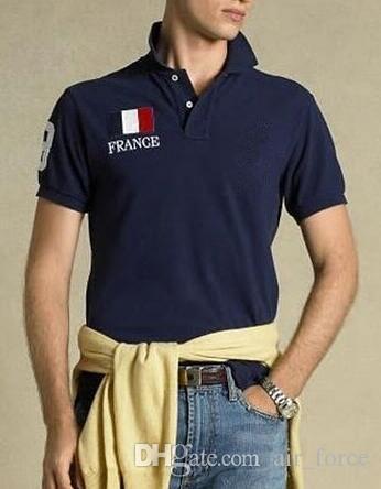 Sleeve EUA Reino Unido Itália França Bandeira Clássico curta Polo algodão respirável T-shirt Casual Magro Homens Jerseys Cotton Slim Fit Tops Azul Navy