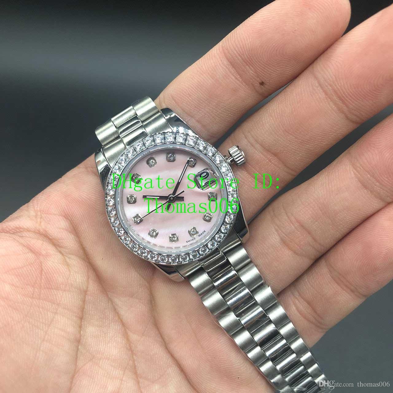 Datejust Uhren Diamant Mark Pink Shell Dial Frauen Edelstahl Uhren Damen automatische Armbanduhr Valentine bestes Geschenk 31mm