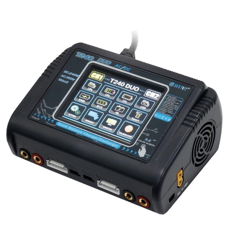 Htrc T240 Duo Ac 150w Dc 240w 10a Pantalla táctil Cargador de cargador de equilibrio de batería de doble canal para modelos Rc Juguetes J190506