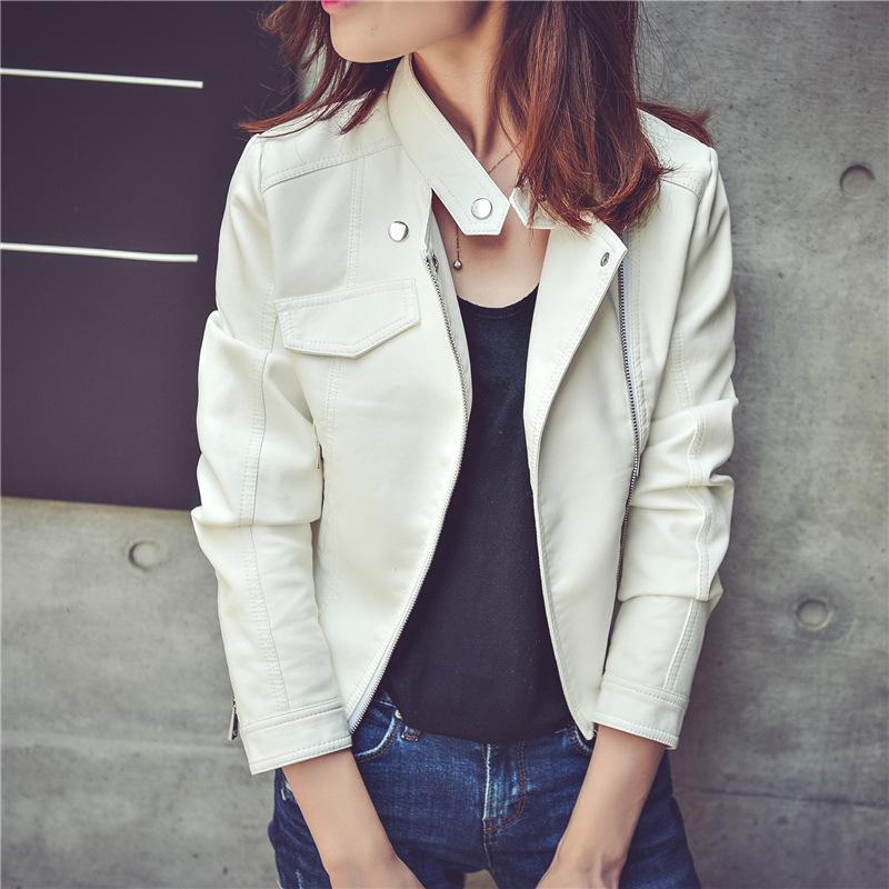 Англия Стиль женщин куртка из искусственной кожи отложным воротником женщин пальто карманы бомбардировщик женские куртки и пальто PU
