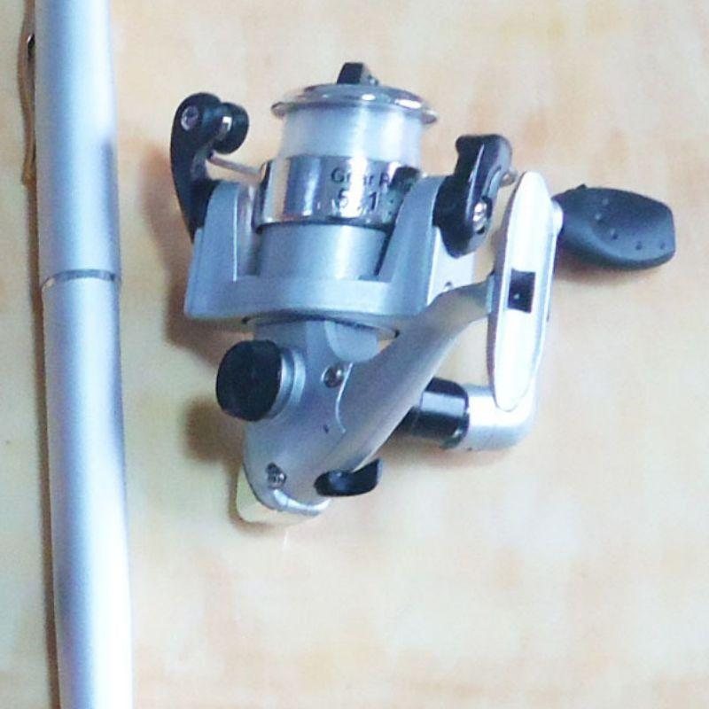 Pesca en forma de barra carrete Línea pluma combinada súper corto telescópica Polo Mini Juego de cables de la rueda de hilado