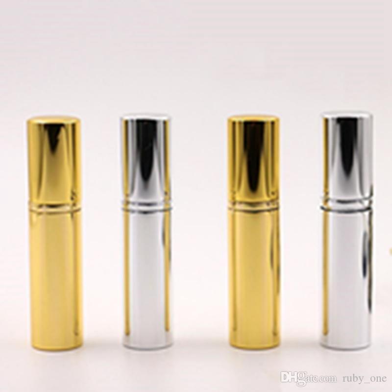 Brilliant Ouro Prata 5ml portátil Mini Perfume garrafa de alumínio de viajantes do pulverizador atomizador de perfume vazio spray atomizador Container EEA1258