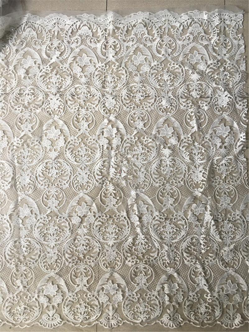 Beau tissu de dentelle africaine de tulle de maille de broderie YG-807 pour la robe de mariage / robe de soirée