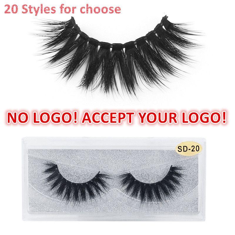 NO LOGO! 20 estilos 3D Mink pestañas gruesas pestañas falsas HandMade completa Strip Lashes aceptar su logotipo personalizado logo