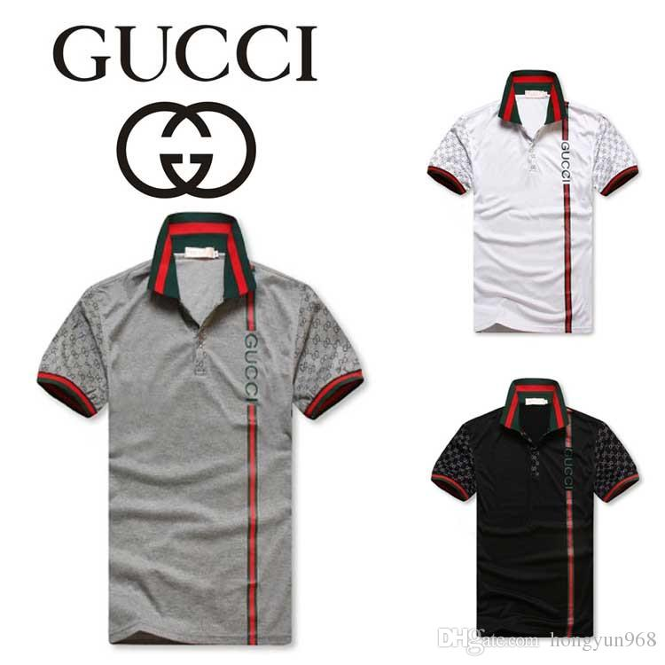 d743db40e High Quality Summer GUCCI Polo Shirt Men Short Sleeve Casual Men Shirts  Slim Fit Polo Homme ...