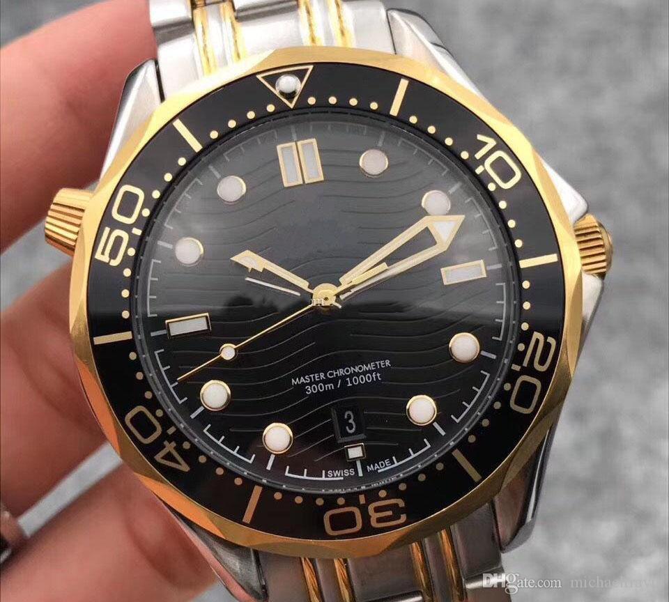 Mira el estilo 007 James Movimiento recién 42 mm mar gris dial masculina cara higt siete acero inoxidable automático azul reloj de hombre Dshkx