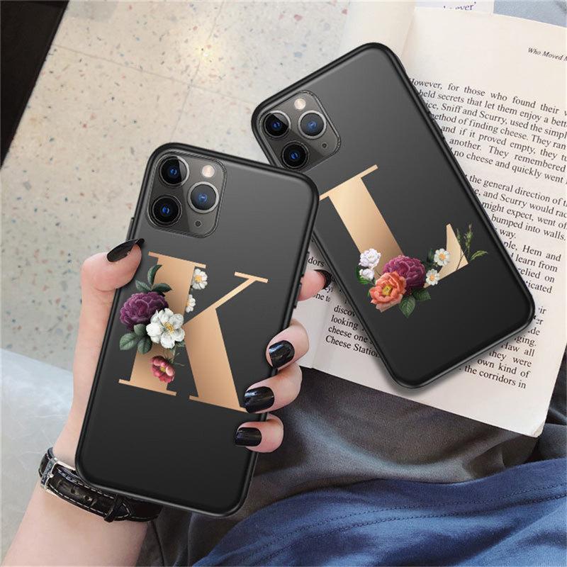 Özelleştirilmiş İlk Harf Telefon Kılıfı için iphonePhone 11 Pro X XR XS Max 8 7 6 6s Plus Flowers Siyah Silikon Yumuşak Arka Kapak