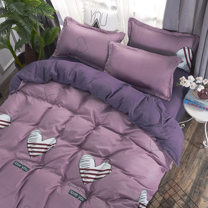 Inocuos para la piel de moda de actividad impresa hoja de cubierta pillowcaseduvet conjunto de casa ropa de cama las mujeres ropa de cama