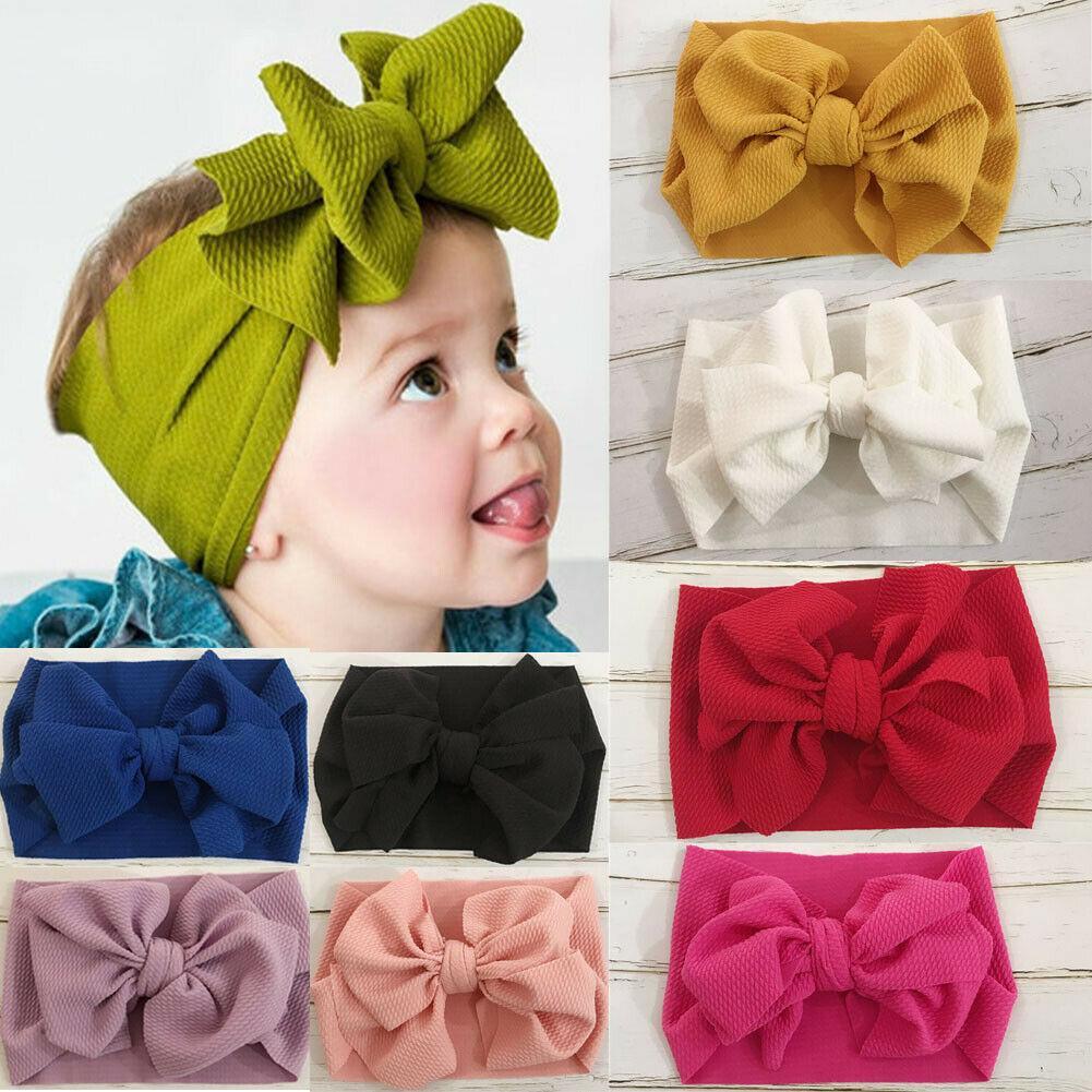 Toddler Bebek Kız Ilmek Kafa Çocuk Kız Büyük Yay Hairband Katı Renk Türban Düğüm Sevimli Kafa Moda Şinke Aksesuarları