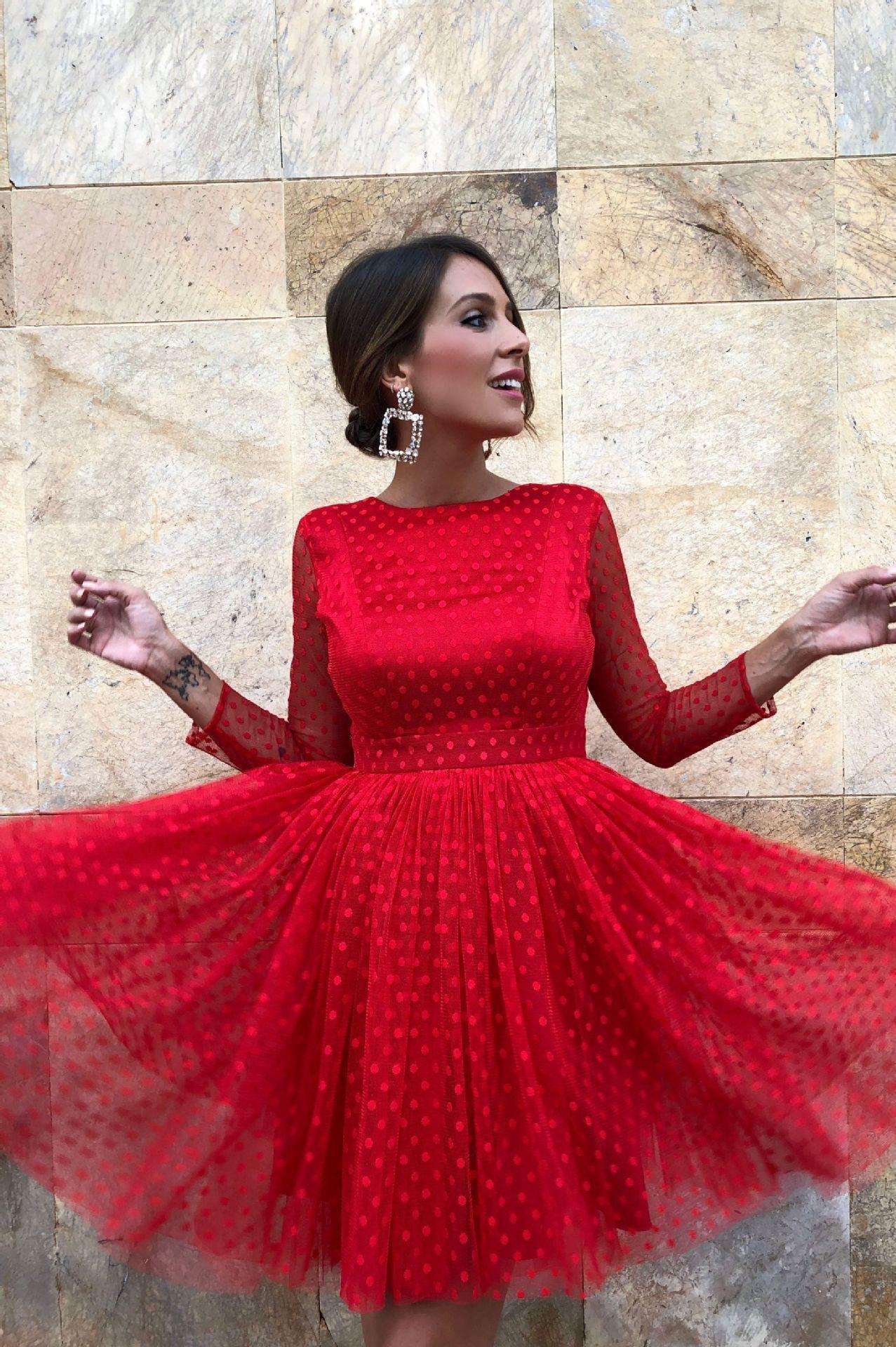 С Длинным Рукавом Волна Точка Платье Сексуальное Кружево Выявить Обратно Короткий Фонд Небольшой Полный Платье