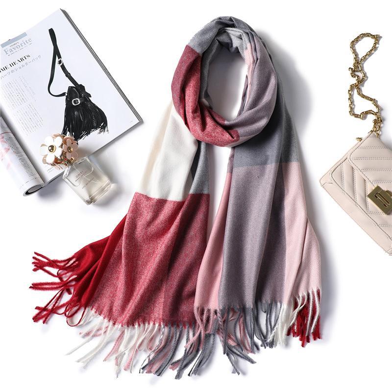 2019 зимний шарф для женщин шали обернуть мода плед теплые толстые кашемировые шарфы леди пашмина женский бандана качество кисточкой