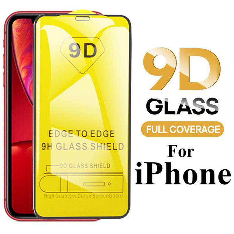 Für Iphone 12 mini 11 pro x xr xs max 8 7 6 plus neue 9D Full Cover Kleber Handy Ausgeglichenes Glas-Displayschutzfolie für Samsung M30 A50 A70