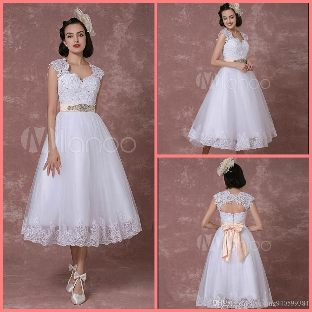 2019 free shipping short tea length a line wedding dress cap sleeve with sashes and bow sweetheart neckline petite girls wedding gowns