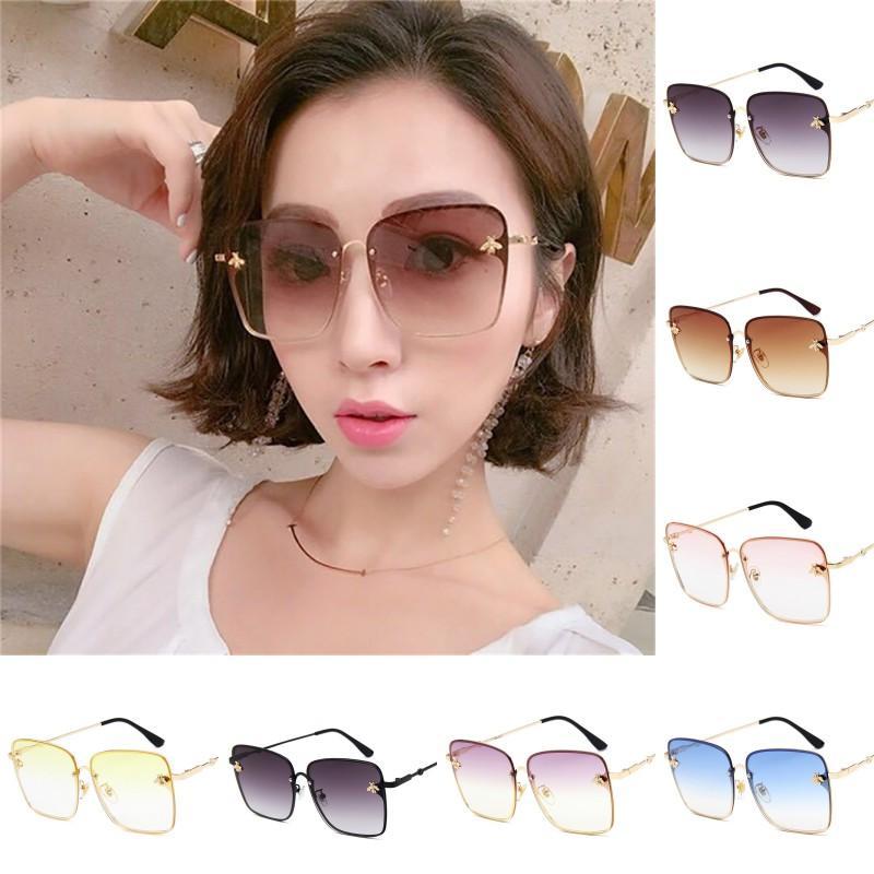 7 Renk Lüks Kare Arı Güneş gözlüğü Kadınlar Erkekler Vintage Metal Çerçeve Büyük Boy Güneş Gözlükleri Kadın eğimi