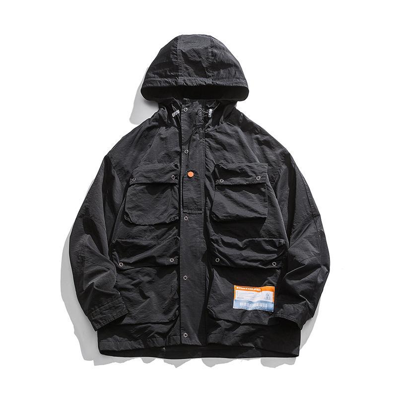 Erkekler Japonya Streetwear Moda Hip Hop Gevşek Casual Kapşonlu Kargo Ceket Dış Giyim Erkek Kadınlar İşleme Coat WINDBREAKER Palto