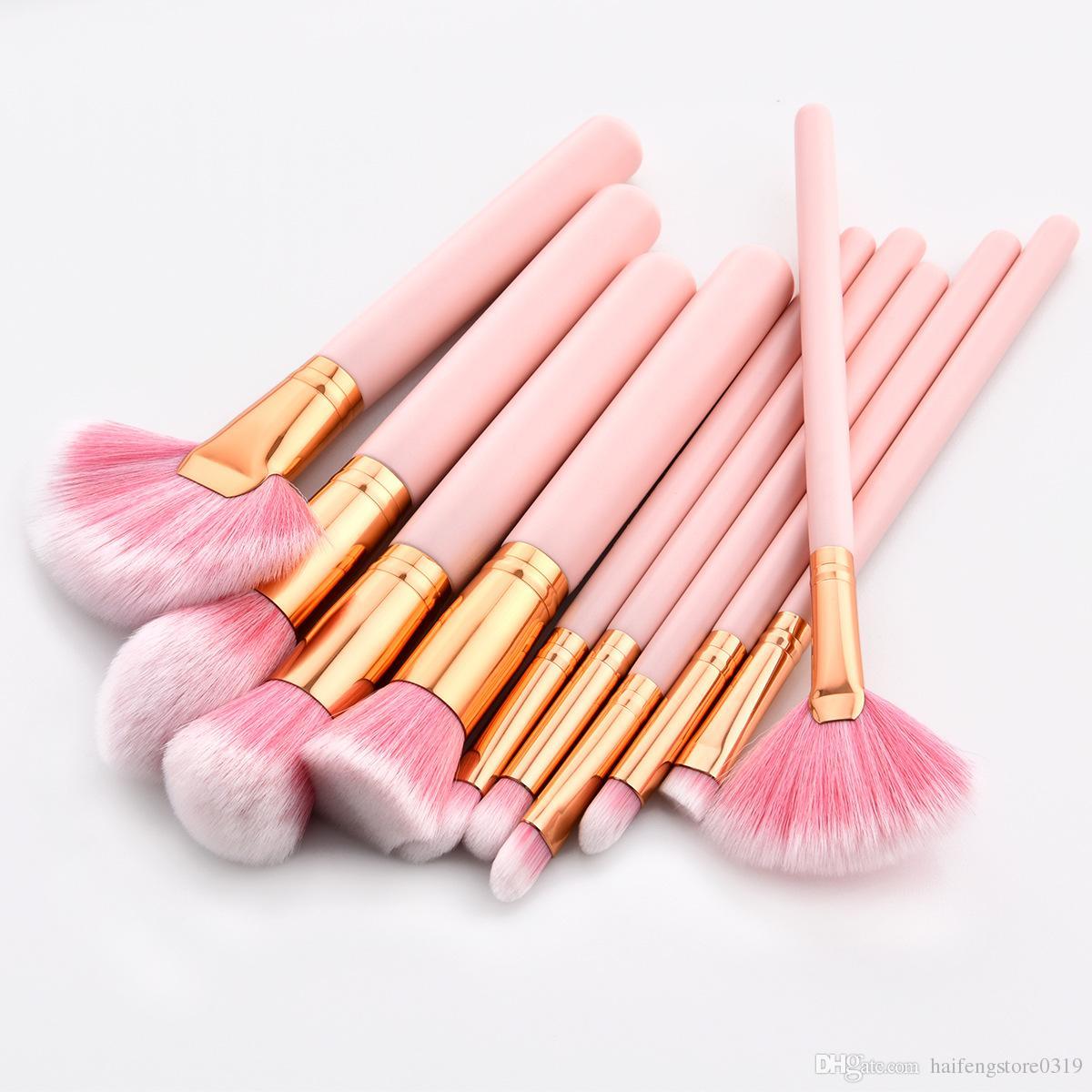 10pcs Pink Professional Makeup Brushes Set Foundation Powder Blusher Eyeshadow Beauty Makeup Brush Tools Kit