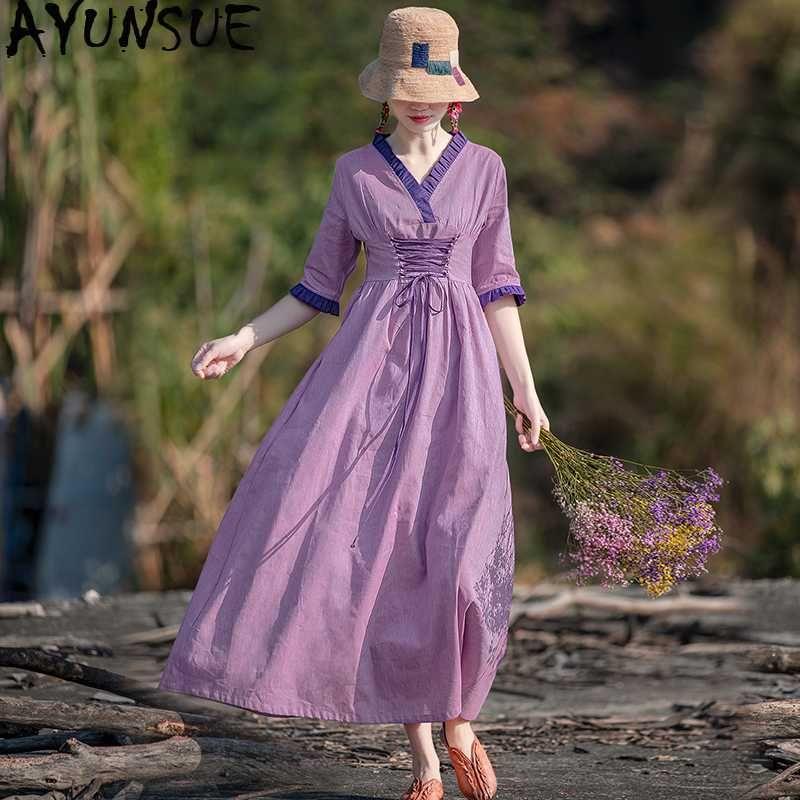 2020 весна лето женщина платье Элегантный Длинные Хлопок Льняные платья Винтажные платья макси для женщин Vestidos Elegantes C800 KJ4821