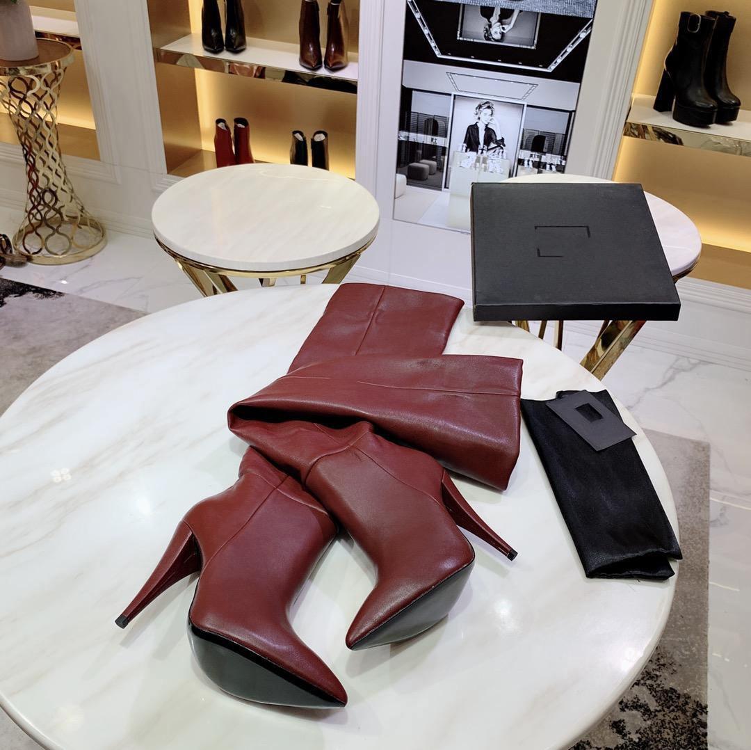 """Sıcak Satış-Lüks Tasarımcı Bayan Şövalye Düz Uyluk Yüksek 24"""" Topuk Sivri Ayak parmakları Botlar İnek Deri Ayakkabı Boyut 35-40"""