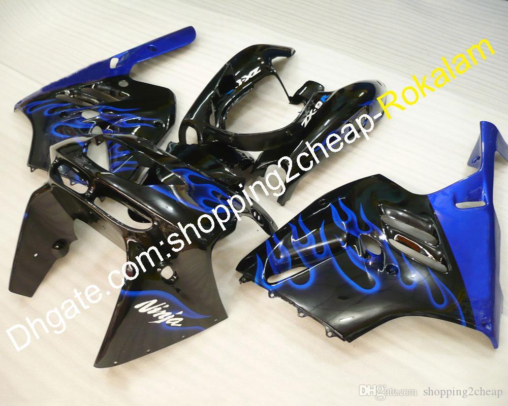 Kit carrosserie moto pour Kawasaki ZX 9R 94-97 ZX-9R ZX9R 9 R 1994 1995 1996 1997 Blue Flame Carrosserie Carénage Ensemble