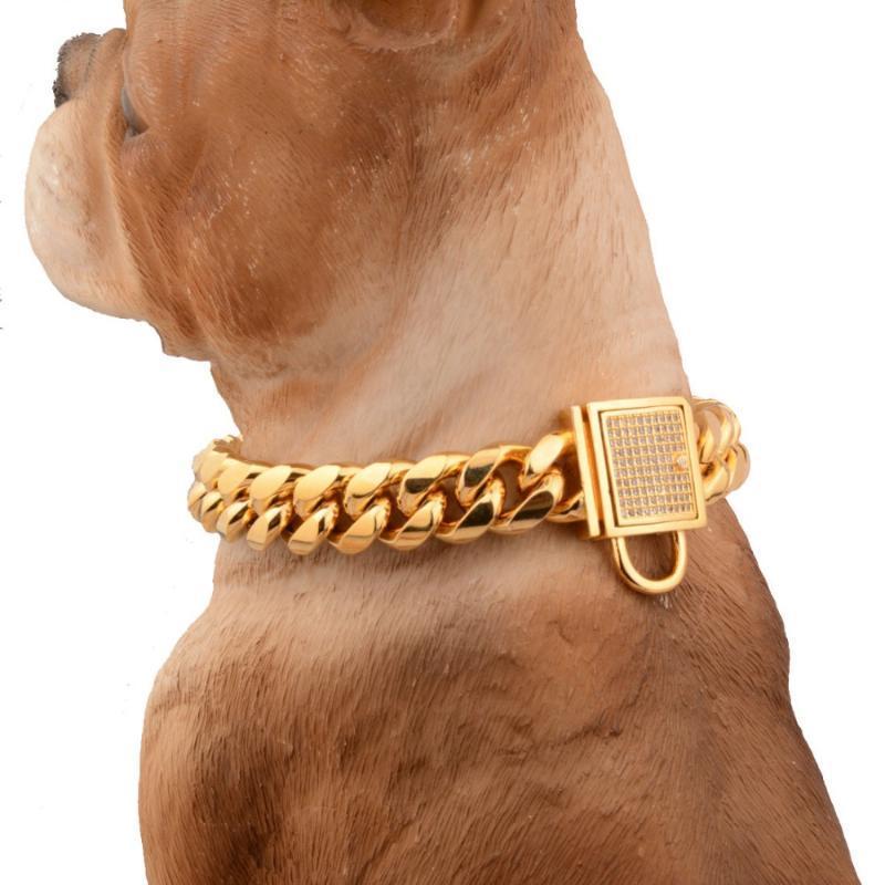 """14mm سحر حجر الراين الأبيض قفل مشبك قطع كبح الكوبي وصلة 316l الفولاذ المقاوم للصدأ الذهب الكلب سلسلة الحيوانات الأليفة قلادة necklac 12-34 """""""