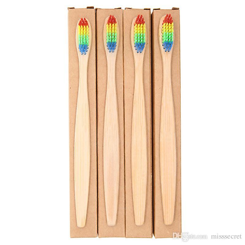 1pc spazzolino da denti in bambù naturale arcobaleno setole morbide colorate spazzolino da denti in bambù spazzolino da denti ecologico cura orale