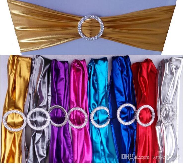 Металлическое золото спандекс стул полосы с алмазной пряжкой/крышка стула створки/стул группа в крышка стула для свадебные события украшения SN2189