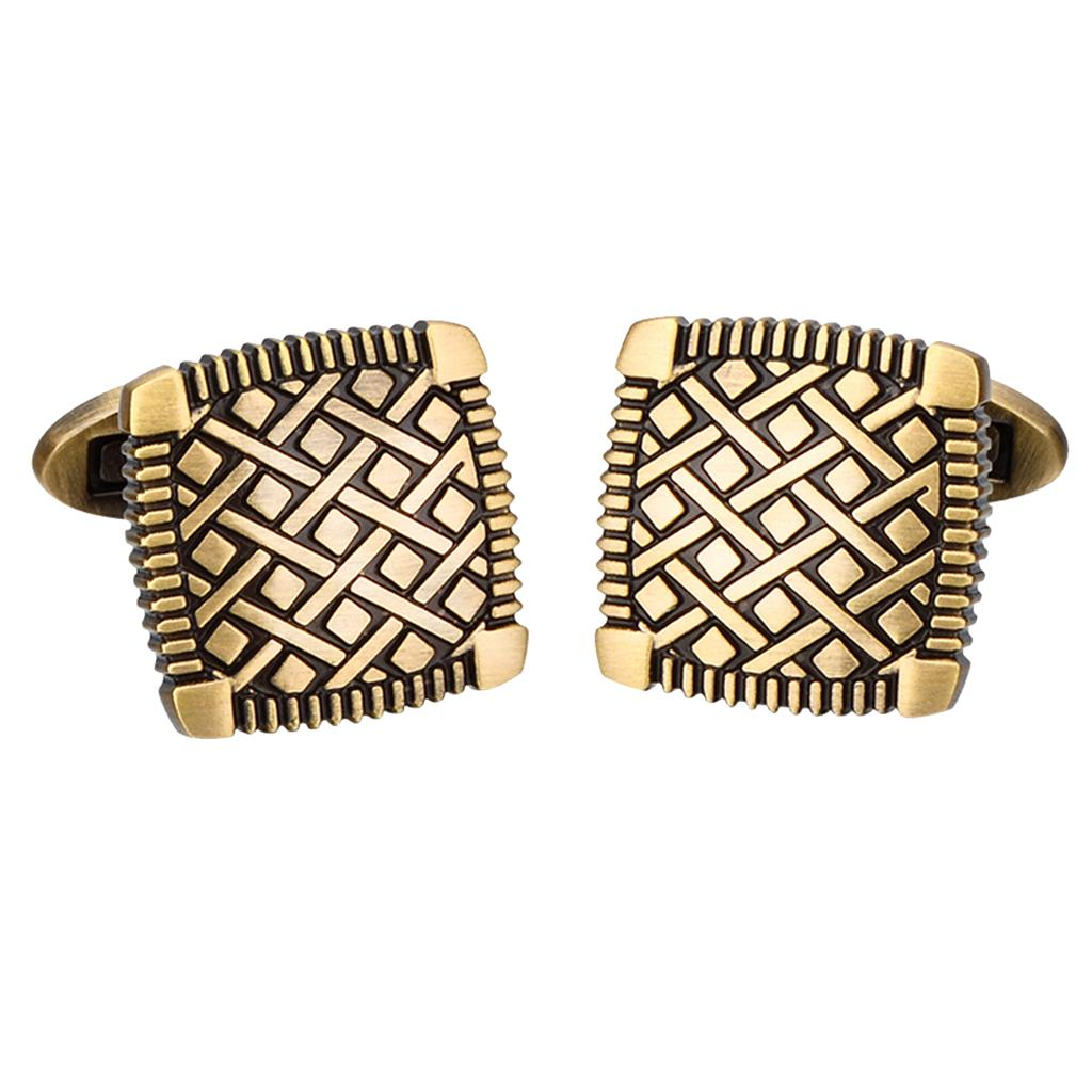 1Pair Chic Antique Brass Square Cuff Links Mens Shirt Cufflinks for Wedding Party