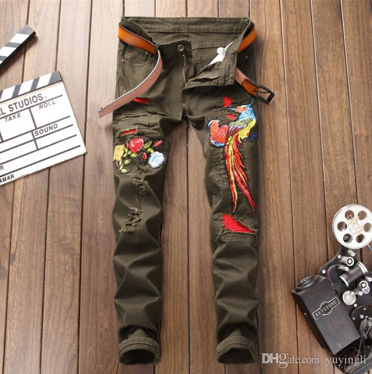 original design cheap jeans men biker jeans High quality men slim trousers Broken hole embroidery army green phoenix male denim pants 754474