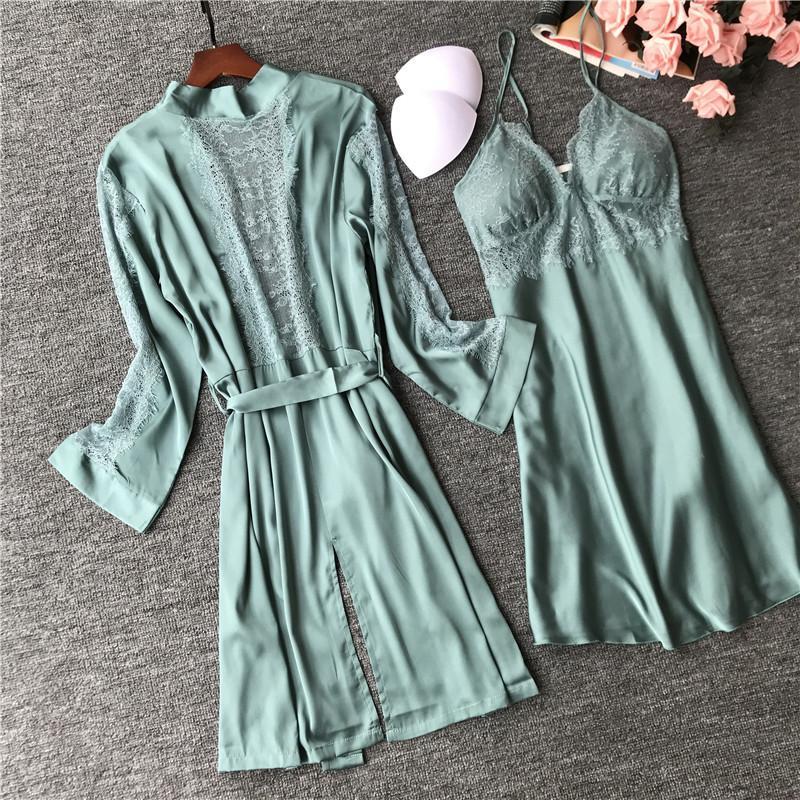 Women's Sleepwear 2021 Women Silk Robe Gown Sets Sexy Lace Sleep Lounge Pijamas Ladies Summer Nightwear Bathrobe Night Dress Femme