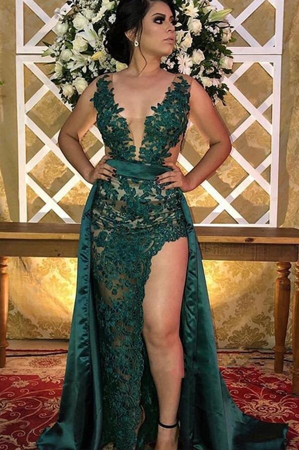 Arabisch Dark Green Lace Lange Abendkleider mit über Rock 2020 mit V-Ausschnitt Tulle Applique Split Illusion Fußboden-formalen Partei-Abschlussball-Kleider