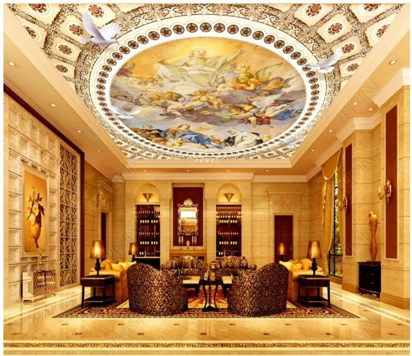 techo 3d fondo de pantalla mural de fotos personalizados pintura al óleo mítica figura de la decoración del hogar Europea salón murales del papel pintado 3D para las paredes 3 d
