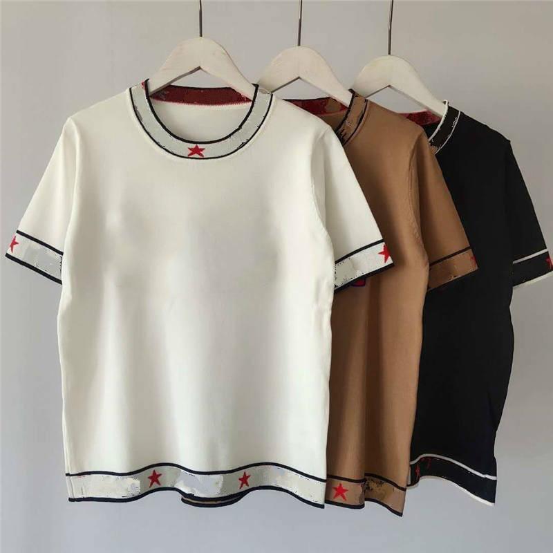 Kadınlar Tasarımcı T Gömlek Marka Tees Harf Nakış Moda Stil Yün Lüks Lady T Gömlek Giyim LR200435 Tops