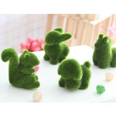 Handmade Artificial Turf Grass Animal Easter Home Office Ornament Office Decor 4 Styles Rabbit squirrel alpaca puppy EEA451