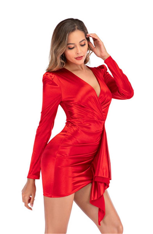 Frauen-reizvolle Verein-Partei-Kleid-Art- und rote Farbe mit V-Ausschnitt-Kleid Art und Weise schnürt sie oben Langarm-Designer-Kleider