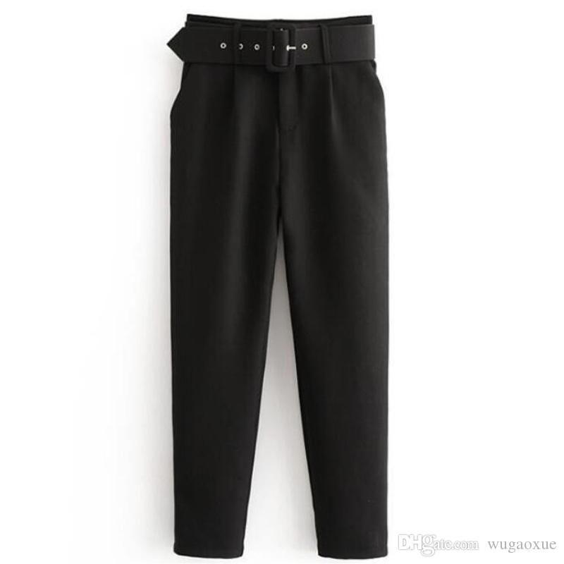 Bella Philosophy Офисная талия с высокой талией Брюки-леди с поясом Черные шаровары с поясами Элегантные женские брюки