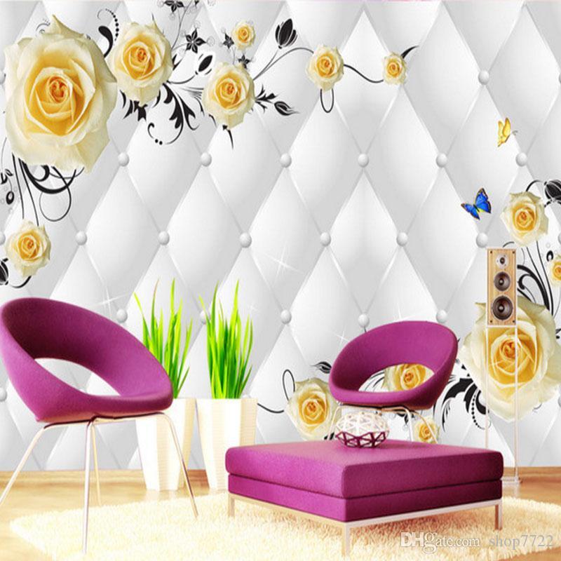 Colgante personalizado mural del papel pintado 3D Soft Pack de la flor del diamante de lujo de papel de pared telón de fondo del hotel Sala de TV Murales de Pared 3D