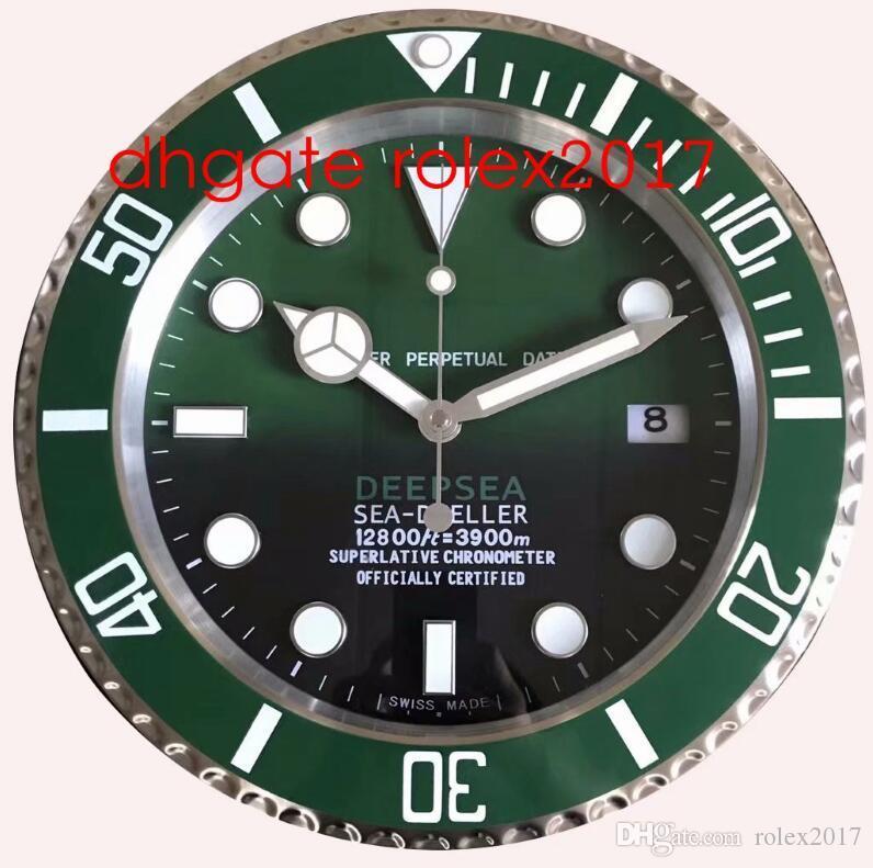 6 Estilo reloj de pared del reloj MAR 126660 126600 116660 34cm x 5cm 2 kg de acero inoxidable cronógrafo de cuarzo azul luminiscente decoración del hogar 2020