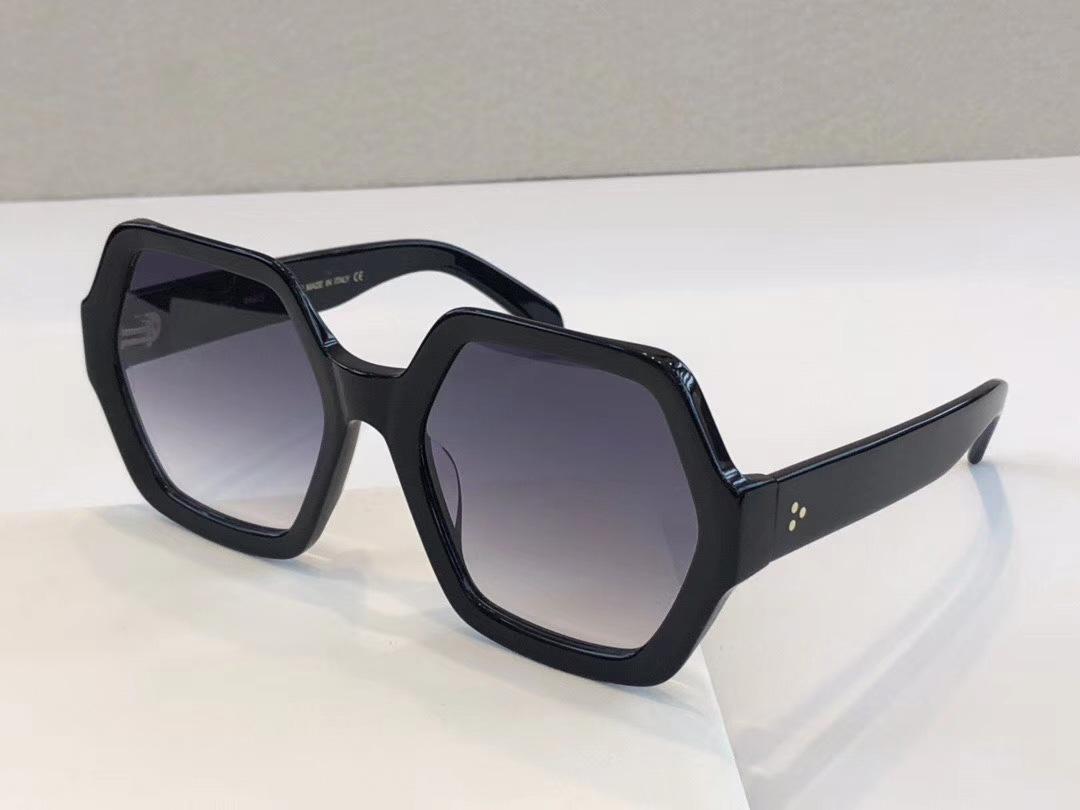 Hexagonal Acetat Sonnenbrille Schwarz Grau schattierte occhiali da sole Frauen-Sonnenbrille Sonnenbrille Shades neu mit Box