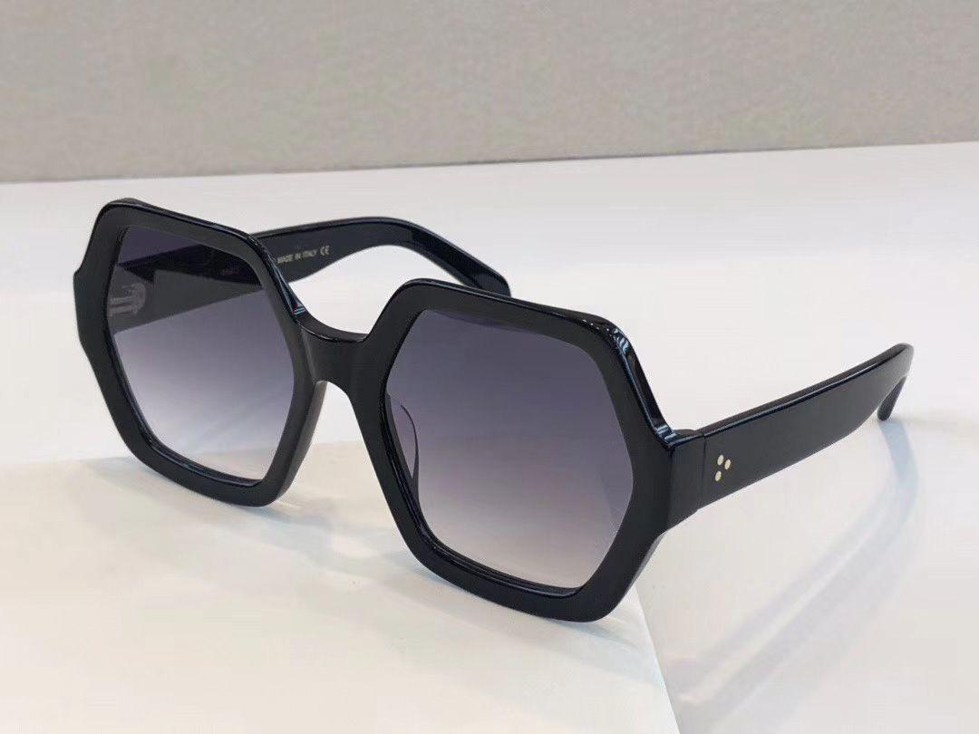 Altıgen Asetat Güneş Siyah Gri Gölgeli Kutusu ile da tek Kadınlar Sunglasses güneş gözlüğü Shades Yeni Occhiali